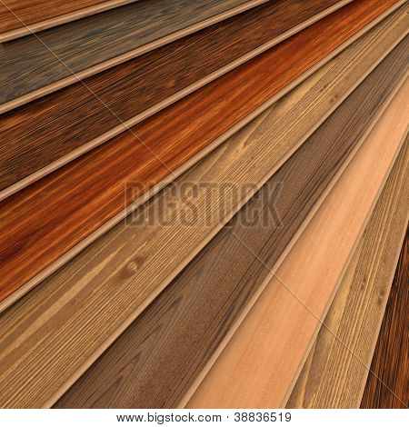 3D rendering of parquet strips in different types of woods