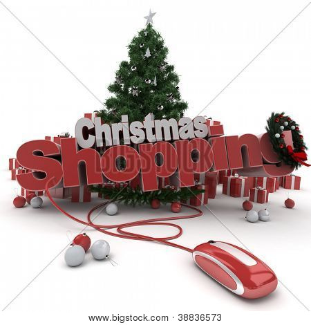 3D rendering of a Christmas decor, and the words Christmas shopping connected to a computer mouse