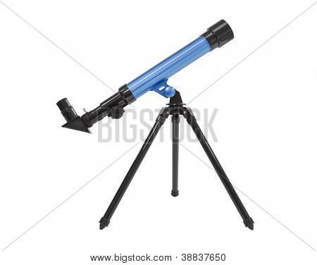 Blue telescope isolated with clipping path.