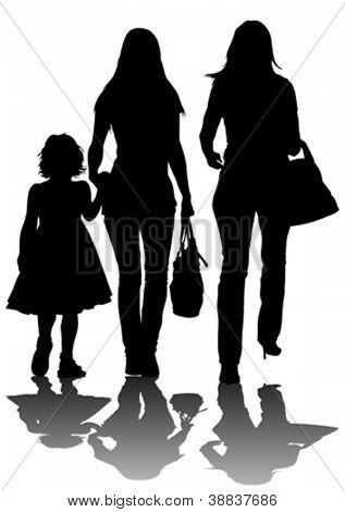 Vector de la imagen de dos mujeres y un niño