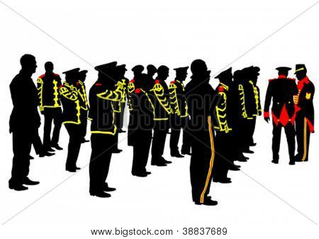 Vector drawing of soldiers during a military parade