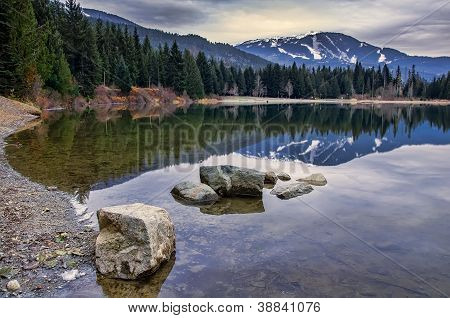 Whistler Mountain Reflection With Rocks On Pond