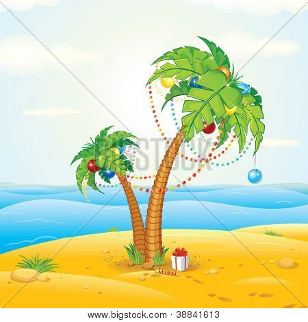 Tropical Beach Christmas, Vector Illustration