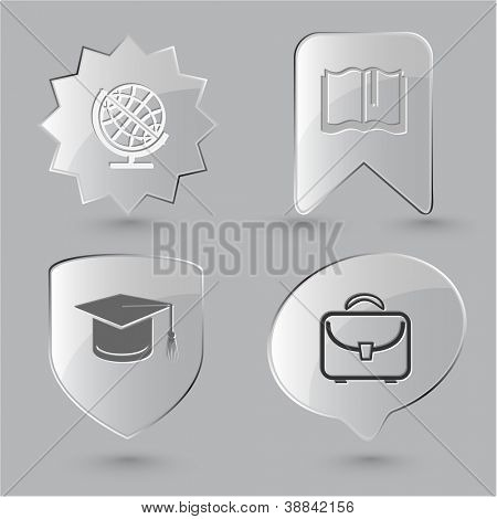Education icon set. Graduation cap, book, briefcase, globe. Glass buttons.