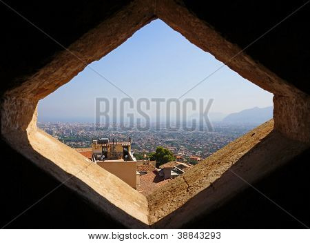 Window above the city of Palermo in Sicily