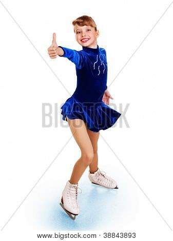 Happy young girl figure skating show thumb up. Isolated.