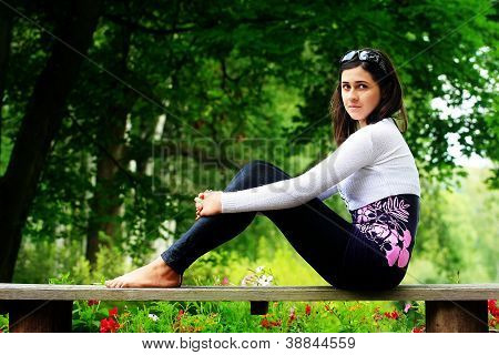 Girl on bench