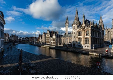 Ghent canal and Graslei street on sunset. Ghent, Belgium
