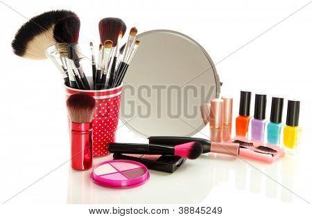 cosmetics near mirror isolated on white