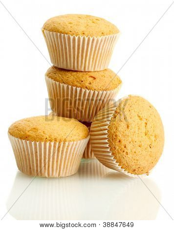 tasty muffin cakes, isolated on white