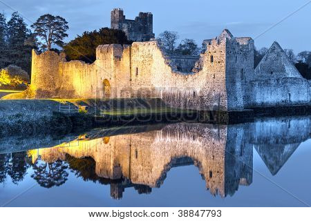 Ruins of Adare castle at the river in Ireland