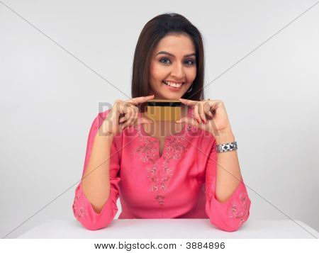 Indian Woman With A Credit Card