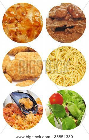 a collage of different food dishes collage such as roasted chicken, beef stew, spaghetti, salad or spanish paella