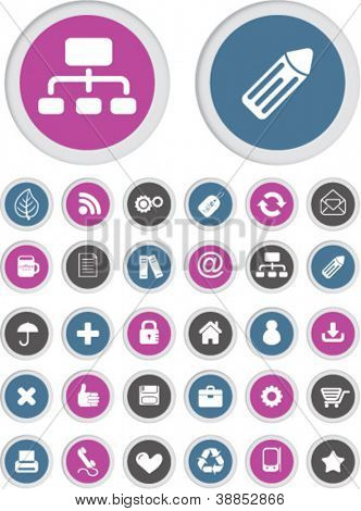 web business buttons, icons set, vector