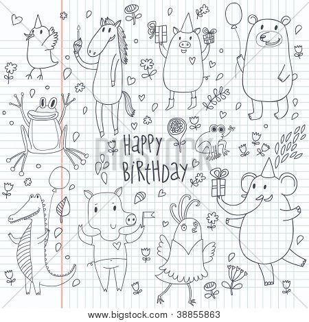 Happy birthday. Cartoon funny animals set. Doodle vector set