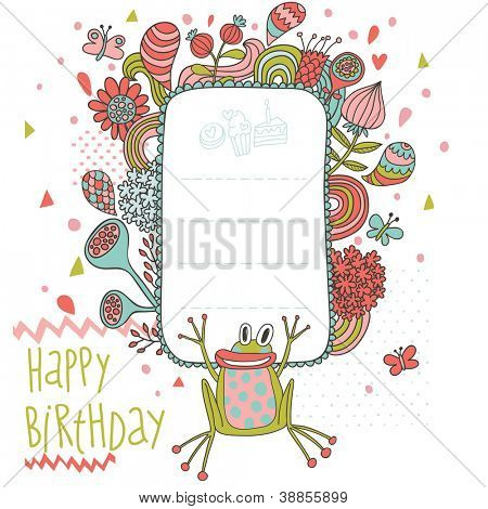 Birthday card in vector. Funny cartoon holiday card with cute frog