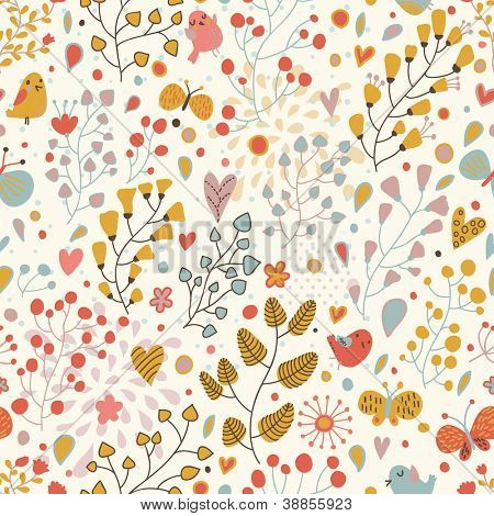 Romantic floral seamless pattern in retro style. Birds and butterflies in flowers