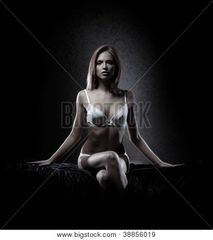 Young sexy lady in lingerie over vintage background