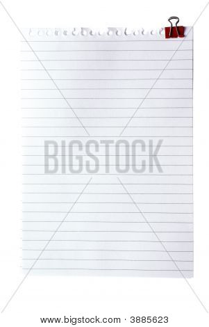 Blank Note Paper With Clinch Isolated Od White. Clipping Path