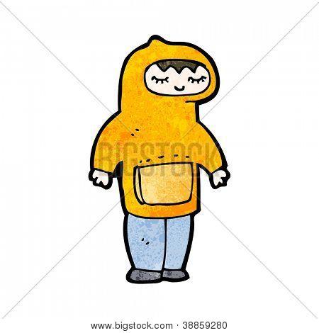 hombre de dibujos animados que llevaba sudadera con capucha