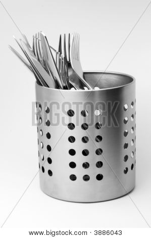 Service Cutlery In A Stand