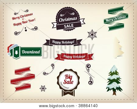 Christmas decoration collection - Set of calligraphic and typographic elements, vintage labels. Ribbons, stickers, Santa's hat, snowman