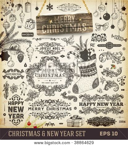 Christmas decoration collection | Set of calligraphic and typographic elements, wood frame, vintage labels. Ribbons, toys, hand drawn gifts, engraving fur-tree branches with balls. New Year vector.
