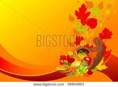 Thanksgiving background with cornucopia full of harvest fruits and vegetables