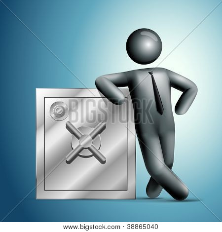 3d vector man leaning on a safe. All elements are layered separately in vector file. Mesh used EPS10 file.