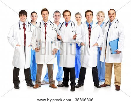 Group of smiling medical doctors with stethoscopes. Isolated over white background
