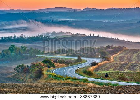 Tuscany landscape at sunrise, Italy
