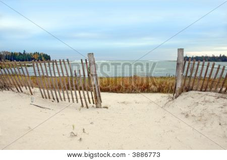 Lake Michigan Beach With Fence