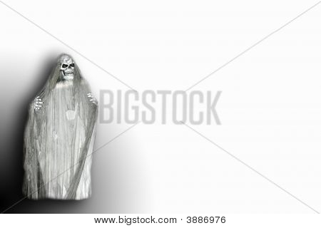 Skeleton Ghost Over White