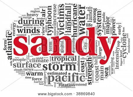Sandy hurricane concept in word tag cloud on white