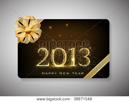 Gift card for Happy New Year celebration with golden ribbon. EPS 10.