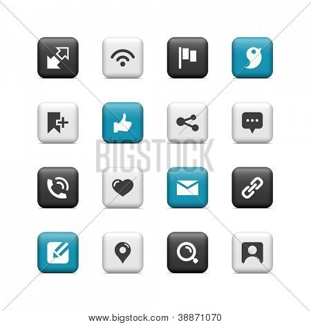 Communication and social icons. Buttons.