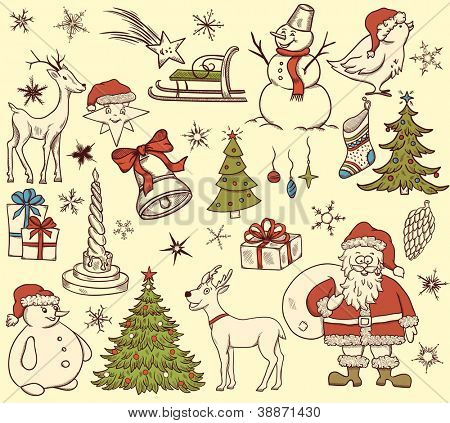 Set of christmas elements in retro style on beige background