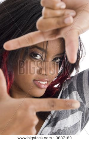 Girl Showing Framing Hand Gesture