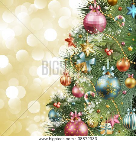 Christmas vintage background with christmas tree and balls. Check my portfolio for vector version.