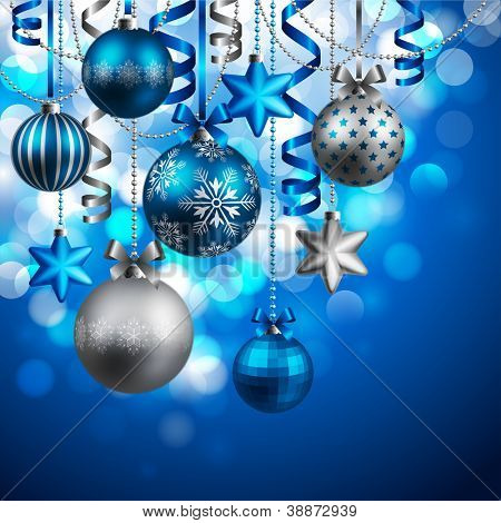 Christmas background with blue and silver baubles. Check my portfolio for vector version.