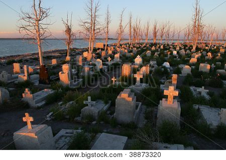 Abandoned cemetery in Epecuen (Dead City), Argentina.