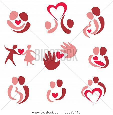 Love, Wedding, Set Of Couple In Love Icons
