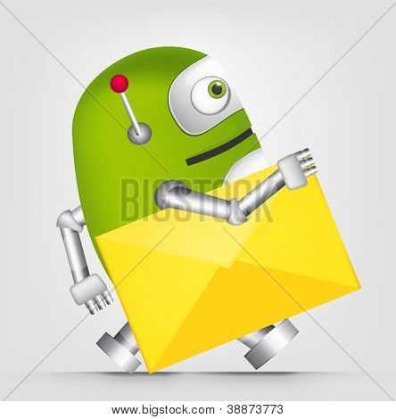 Cartoon Character Cute Robot Isolated on Grey Gradient Background. Postman. Vector EPS 10.
