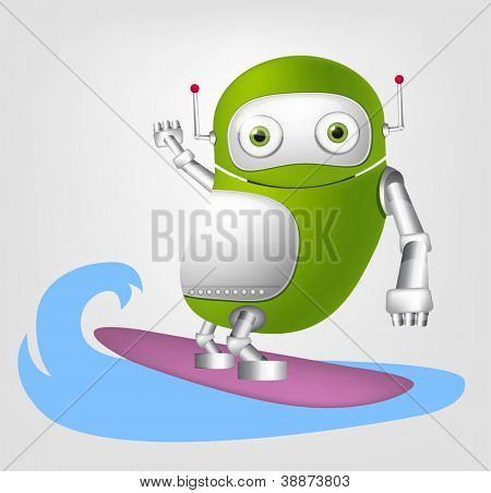 Cartoon Character Cute Robot Isolated on Grey Gradient Background. Surfing. Vector EPS 10.