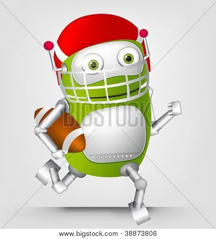 Cartoon Character Cute Robot Isolated on Grey Gradient Background. Rugby. Vector EPS 10.
