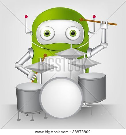 Cartoon Character Cute Robot Isolated on Grey Gradient Background. Drummer. Vector EPS 10.