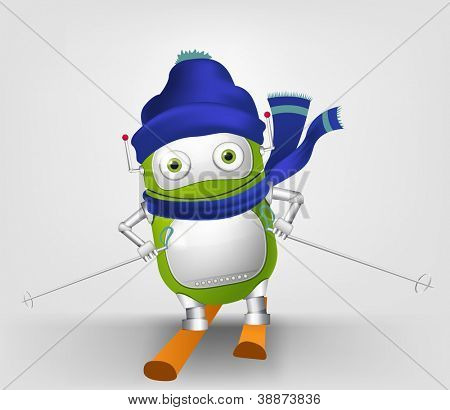 Cartoon Character Cute Robot Isolated on Grey Gradient Background. Skiing. Vector EPS 10.