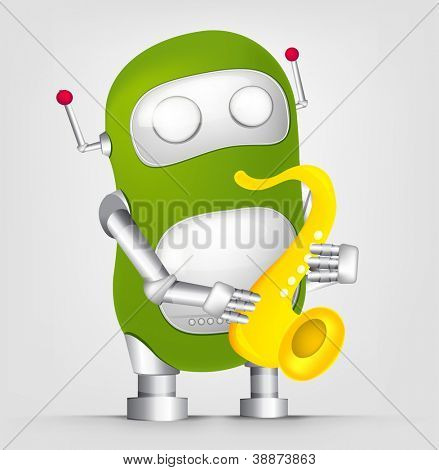 Cartoon Character Cute Robot Isolated on Grey Gradient Background. Saxophonist. Vector EPS 10.