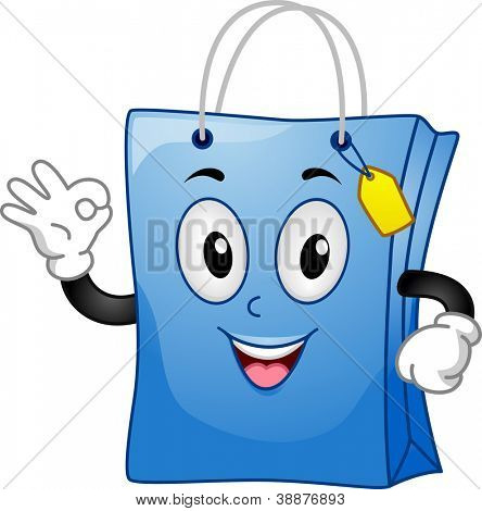 Mascot Illustration Featuring a Shopping Bag Doing an Okay Sign
