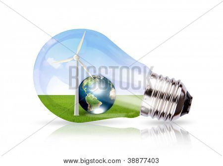 Light bulb with wind turbine and earth inside (Elements of this image furnished by NASA)